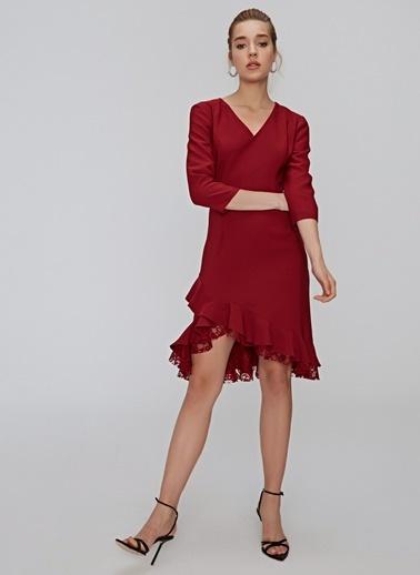 People By Fabrika Dantel Detaylı Elbise Bordo